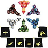 GSYXY Polyhedral Dice Double Colors Table Game Dice for Dungeons and Dragons MTG RPG DND with Gold Pattern Pouches 42 Pieces