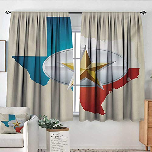 "Texas Star Patterned Drape for Glass Door Cowboy Belt Buckle Star Design with Texas Map Southwestern Parts of America Blackout Draperies for Bedroom 72"" W x 45"" L Multicolor"