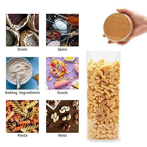 EZOWare 5 Pcs Tarros de Almacenamiento Recipientes Organizador con Tapa Hermético de Madera Bambu para Conservar Alimentos Té Café Azúcar Harina Frijoles, ...