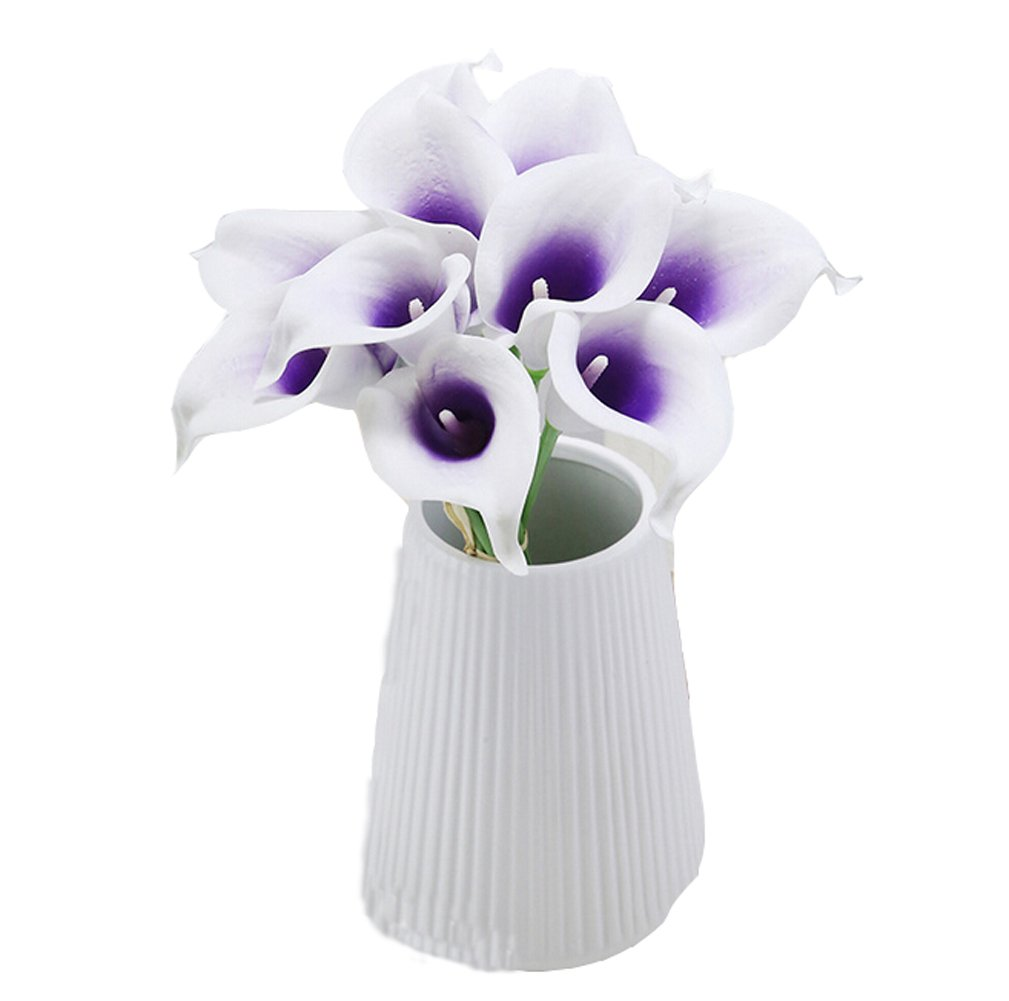 Flyusa 10 Pcs Calla Lily Bridal Wedding Bouquet Head Real Touch Flower Bouquets Artificial Flowers for Home Party Decoration(Purple White)