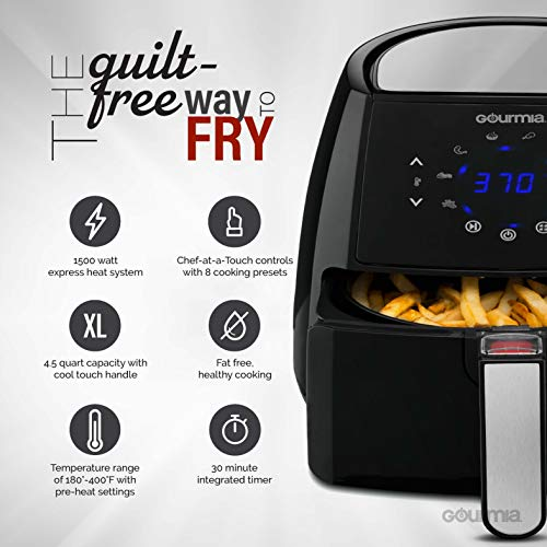 Gourmia Digital Air Fryer Oil-Free 8 Cook | Removable Basket | Recipe Book Included