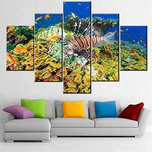Room Wall Pictures Lionfish and Tropical Fish Wall Art Red Sea Paintings for Living Room 5 Panel Printed on Canvas Contemporary Artwork House Decor Stretched and Framed Ready to Hang(60''Wx40''H)