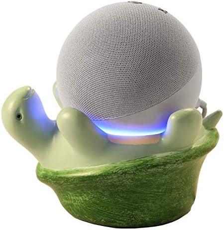 Echo Dot 4 Holder, Table Stand Holder for Echo Dot 4th Generation,Echo Dot 4th Generation Kids Edition,Google Home Mini,Smart Speaker Holder Tortoise Statue Crafted (Green)