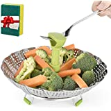 Stainless Steel Vegetable/Veggie Steamer Basket For Instant Cooking Pot With Handle And Legs, Foldable Food Container For Fish, Oyster, Crab, Seafood, Dumpling (5.1 Inch To 9 Inch, Dishwasher Safe)