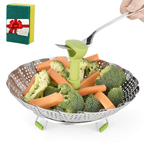 Stainless Steel Vegetable/Veggie Steamer Basket For Instant Cooking Pot With Handle And Legs, Foldable Food Container For Fish, Oyster, Crab, Seafood, Dumpling (5.1 Inch To 9 Inch, Dishwasher Safe) (Steamer Basket Insert)