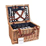 Display4top Wicker Picnic Basket,Deluxe Woven Willow Vintage Hamper for 4 Persons Set with Porcelain Plates,Wine...