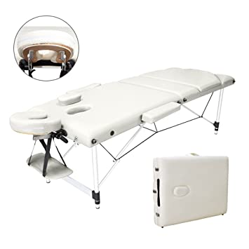 0f00f07f3c0d Vesgantti Portable Massage Bed Table - 3-Section Aluminium Foldable Beauty  Couch for Reiki Therapy