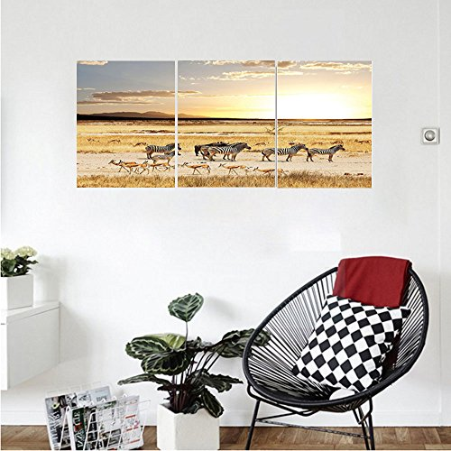 Cream Tole (Liguo88 Custom canvas Safari Decor Collection Zebras with Their Striped Coats in Savannahs Sunset Adventure Africa Wild Safari Photo Bedroom Living Room Wall Hanging Cream Golden)