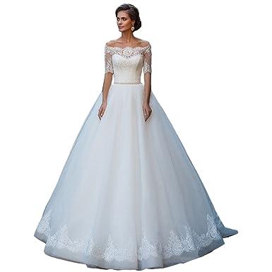 Yahmet Women\'s New Lace Applique Beads Bow-Tie Wedding Dress Bridal ...