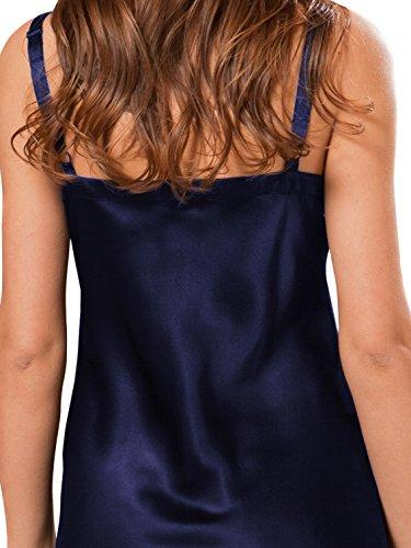 In Donna Da Premium ElleSilk 100 Seta Notte Blu Seta Camicia Militare Da Qualità Notte Camicia Di In Lunga Da Seta Marina Cqqnt4
