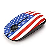 Jelly Comb 2.4G Slim Wireless Mouse with Nano Receiver, Less Noise, Portable Mobile Optical Mice for Notebook, PC, Laptop, Computer, MacBook - American Flag Pattern