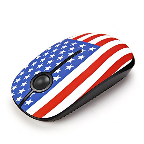 Jelly Comb 2.4G Slim Wireless Mouse with Nano Receiver, Less Noise, Portable Mobile Optical Mice for Notebook, PC, Laptop, Computer, MacBook MS001 - American Flag Pattern
