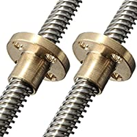 HICTOP 295mm Dia 8mm Lead Screw with Brass Nut for 3D Printer Z Axis(pack of 2) by HIC Technology