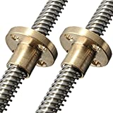 HICTOP 295mm Dia 8mm Lead Screw with Brass Nut for 3D Printer Z Axis(pack of 2)