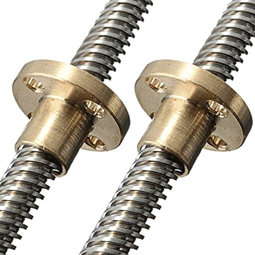 HICTOP Lead Screw 295mm Dia 8mm with Brass Nut for 3D Printer Z Axis (Pack of 2) ()
