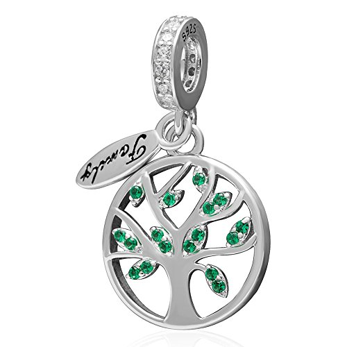 (Family Tree of Life Dangle Charm 925 Sterling Silver Pendants for Women Fit European Bracelet)