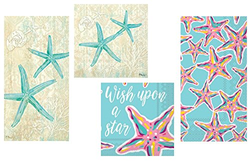 TLP Party Starfish Beach Theme Napkins Set - Bundle Includes 32 Guest Napkins/Towels, and 40 Cocktail Beverage Napkins in 2 Different Starfish/Seastar Designs