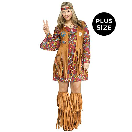 (Fun World Women's Plsz Peace & Love Hippie Cstm, multi Plus)