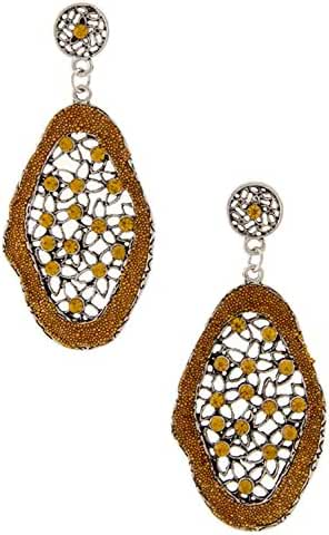 TRENDY FASHION JEWELRY OPULENT FLORAL DANGLE EARRING WITH COLORED RHINESTONE BY FASHION DESTINATION