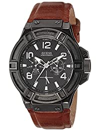 Guess W0040G8 45mm Ion Plated Stainless Steel Case Brown Calfskin Synthetic Sapphire Men's Watch
