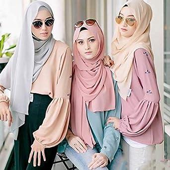 CUHAWUDBA Ladies Colore Solido Perla Chiffon Oro Polvere Hui Baotou Turbante Monocromatico Scialle Fascia Musulmana Foulard Foulard Giuggiola