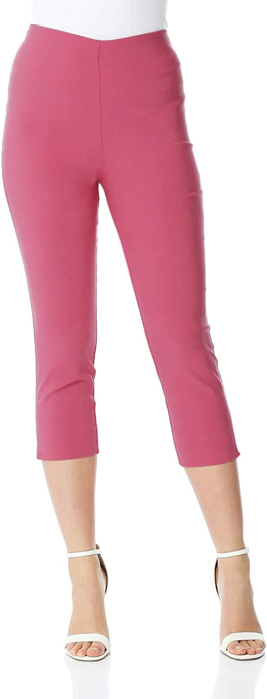 Roman Originals Pantalón Capri elástico de bengalina para Mujer - Pantalón Pirata de Corte cónico Estilo años 50, Malla para Verano, Opaca, cómoda y elástica - 3/4 Legging