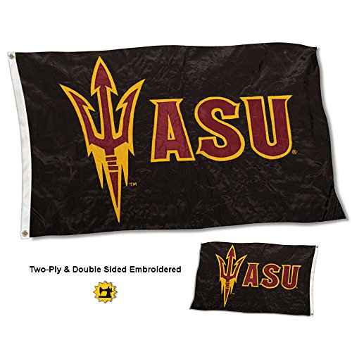 College Flags and Banners Co. Arizona State Sun Devils Double Sided Nylon Embroidered Flag