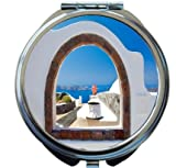 Rikki Knight Greek White Washed Window To Paradise Design Round Compact Mirror