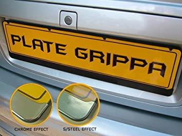 Plate Grippa Number Plate Carrier / Holder / Surround [STAINLESS STEEL-EFFECT TRIM] & Plate Grippa Number Plate Carrier / Holder / Surround [STAINLESS ...