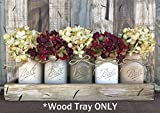 TRAY WOOD LARGE WITH RUSTIC HANDLES *Antique White Red Blue Box for CENTERPIECE, Candles, Mason Ball Jars, Mail, Remote -Kitchen Living Room Decor -Distressed – (fits 5 pint size jars) 18″ x 5″