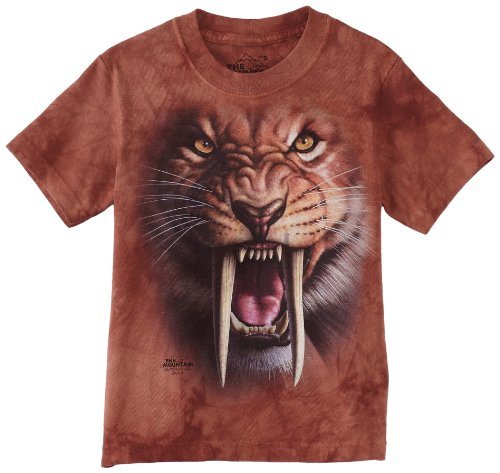 (The Mountain Sabertooth Tiger Child T-Shirt, Brown and Red,)