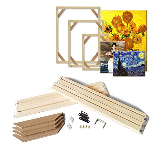 "Asenart DIY Wooden Frame Kit for Oil Painting Canvas Prints Poster Solid Wood Stretcher Bars Wall Art Photo Frame (8"" X 16"")"
