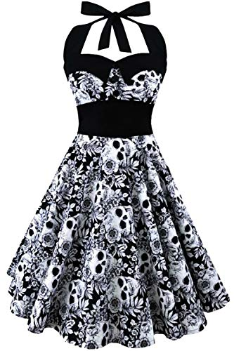 GreaSmart Halloween Dress, B-grey Skull Dress, Large(fits like US