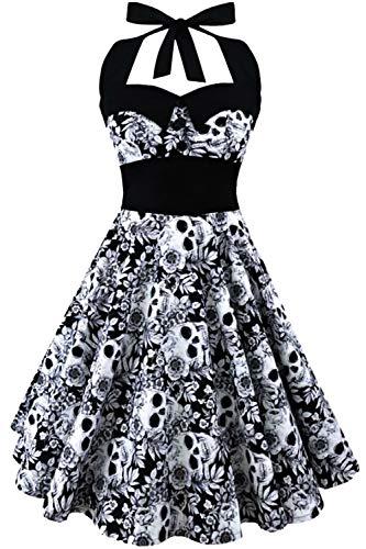 GreaSmart Halloween Dress, B-grey Skull Dress, Large(fits like US