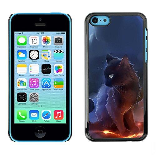 TaiTech / Case Cover Housse Coque étui - Sorceress Witch Cat Smoke Art Black Fire - Apple iPhone 5C