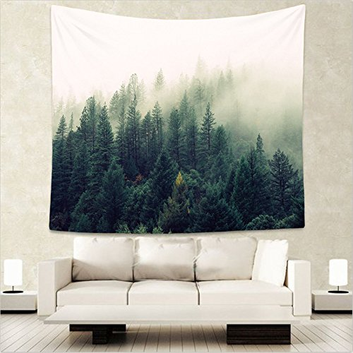 Blue Stones Forest Scenery Tapestry Wall Hanging Sandy Beach Picnic Throw Rug Blanket Camping Tent Travel Mattress Sleeping Pad WE 75x87cm (Turn by The Image) by Blue Stones