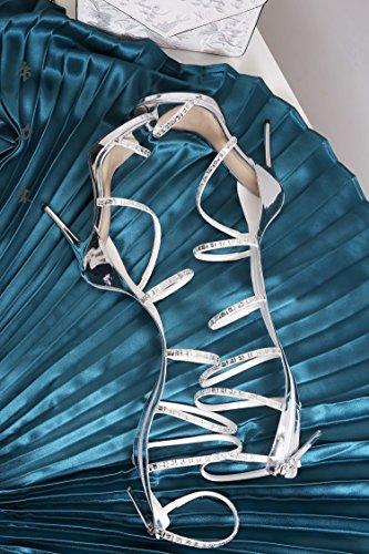 Tmkoo & Cool Stivali Alti Femminile Con Lindennità Con Leggings In Pelle Sandalo Oro-argento Tacco Alto Stile Romano High-top Stivali-2017 (colore: Bianco, Dimensioni: 40)