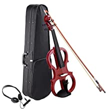 AW 4/4 Electric Violin Full Size Wood Silent Fiddle Stringed Instrument Bow Headphone Case Jujube Red