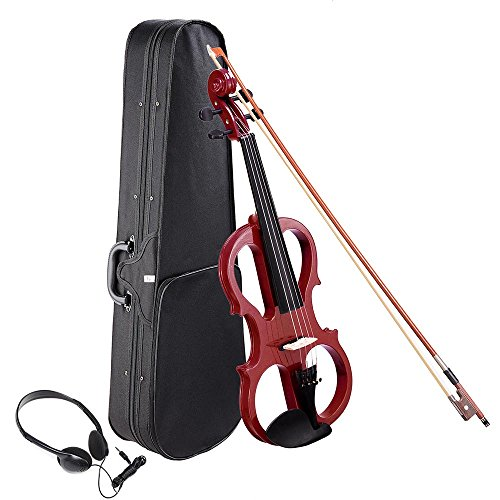AW 4/4 Electric Violin Full Size Wood Silent Fiddle Stringed Instrument Bow Headphone Case Jujube Red by AW
