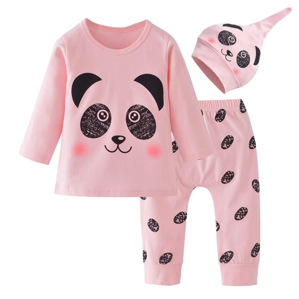 URMAGIC Baby Girls Pyjamas Panda Nightwear Cotton Toddler Clothes Kids Sleepwear Warm Long Sleeve Pjs Sets 2 Piece Outfit Gift for 0-2Y