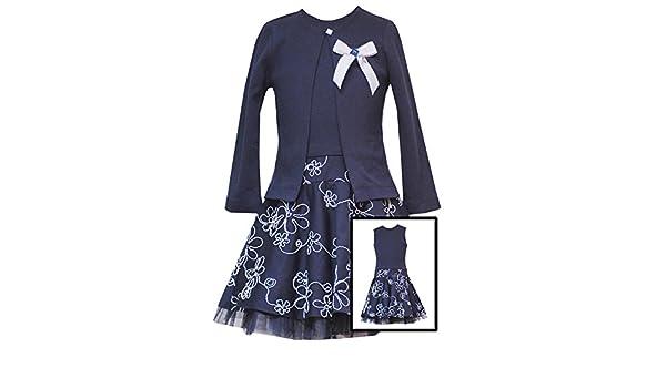 2ca284114c3 Amazon.com  Rare Editions Little Girls 2T-6X Navy-Blue White Embroidered  Drop Waist Dress Cardigan Set