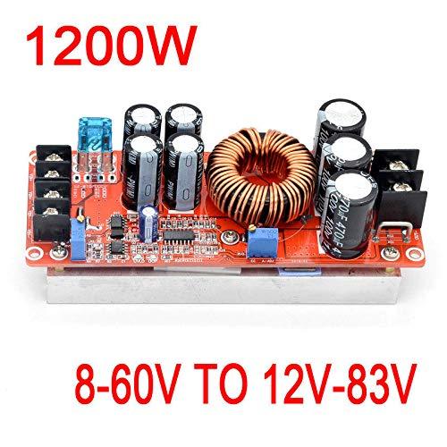 Westsell 1200W 20A DC-DC Converter Boost Power Supply Module 8-60V Step-up to 12V-83V 24v 48V 19V 72V Voltage Regulated