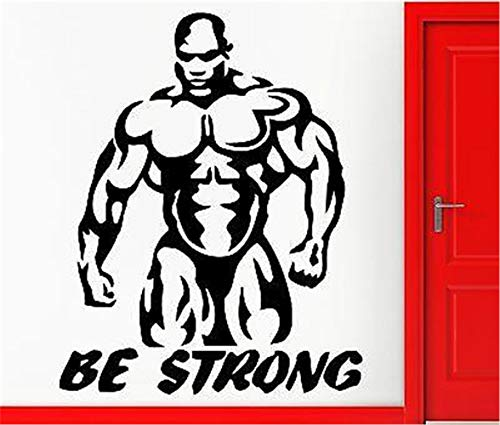 Fuance Quote Wall Decal Sticker Nursery Vinyl Saying Lettering Wall Art Inspirational Wall Decor Be Strong Train Hard Bodybuilding Bodybuilder -