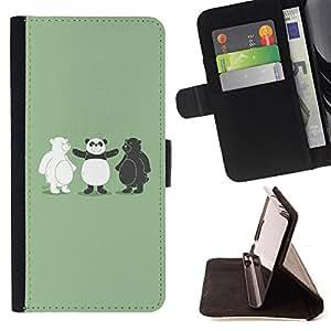 - Funny Black & White Bear Panda - - Monedero PU titular de la tarjeta de cr????dito de cuero cubierta de la caja de la bolsa FOR LG G2 D800 RetroCandy