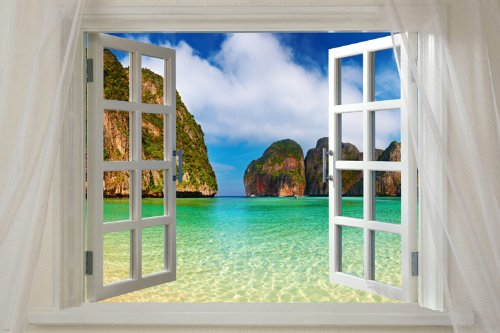 Window to Maya Bay Phi Phi, Thailand Scenic Poster tropical Paradise - not a