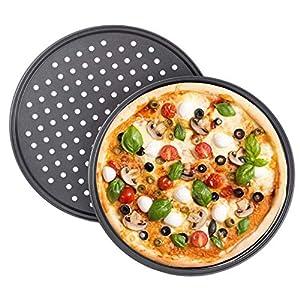 Tiamu Teglia per Pizza Antiaderente, 2 Teglia da forno con rivestimento antiaderente rotondo croccante Strumento per…