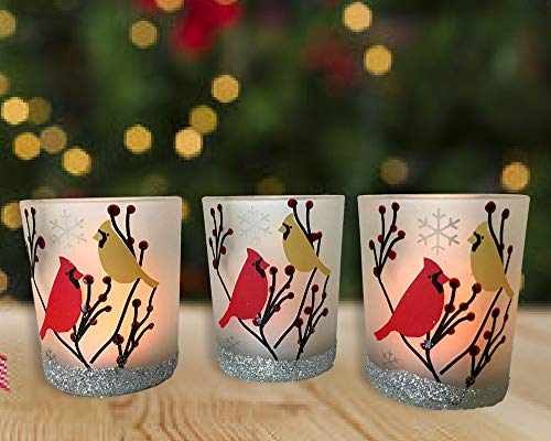 BANBERRY DESIGNS Cardinal Votive Holders - Set of 3 Frosted Glass Candle Holders - Cardinal Birds in a Winter Scene with Berries - 3 Flameless Tealight Candles Included