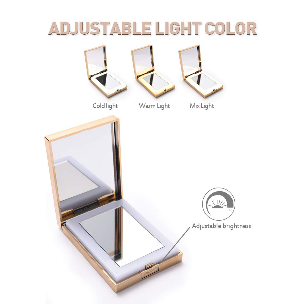 Longko Compact Led Travel Makeup Mirror Double Sided Hd Mirror