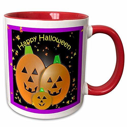 3dRose Dawn Gagnon Photography Halloween Designs - Pumpkin Trio - 15oz Two-Tone Red Mug -