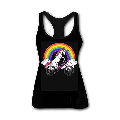 62b238e9f00a Custom Unicorn Riding Bike Sleeveless Tank Top Graphicsyoga Vest Tees for  Women at Amazon Women's Clothing store: